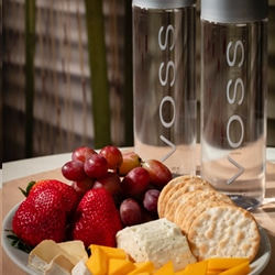 <b> Fruit & Cheese Platter  <br/> 45</b> <br/>A fine selection of Brie, Boursin, Smoked Cheddar, Strawberries, Grapes, Carr's Table Water Crackers and Two Bottles of Voss.