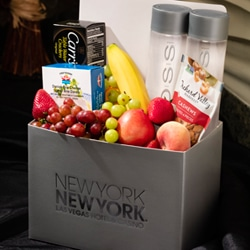 <b> Large Fruit & Cheese Basket   <br/>60</b> <br/> Apple, Banana, Orange, Peach, Grapes, Strawberries, Brie, Cashews, Carr's Table Water Crackers and Two Bottles of Voss.