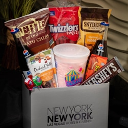 <b> Snack Box  <br/>60</b> <br/> Ice Breakers, Hershey's Chocolate Bar, Reese's Peanut Butter Cups, Jolly Rancher Lollipops, Chips, Pretzels, Trail Mix, Twizzlers, Cotton Candy, Two Glass Bottles of Pepsi.