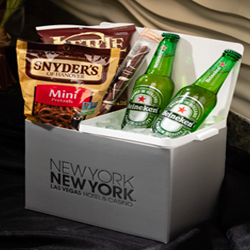 <b> Beer & Snacks  <br/>40</b> <br/> Choice of Two Beers (Bud, Coors, Corona, Heineken, Michelob Ultra, Miller Lite, Stone IPA, Dogfish Head) and Three Snacks (Pretzels, Potato Chips).